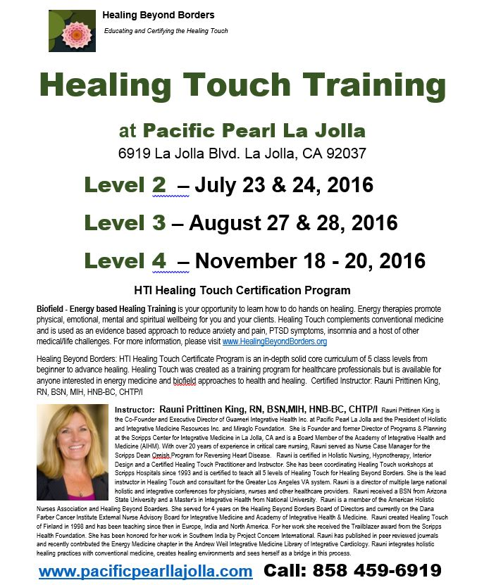 Healing Touch Training At Pacific Pearl La Jolla Pacific Pearl Of