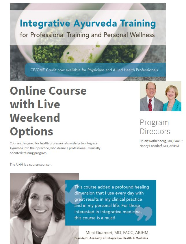 Integrative Ayurveda Training Cme Ce Options Available Pacific