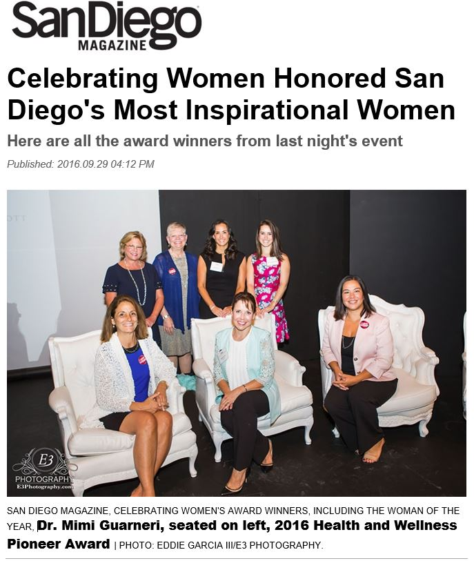 "Mimi Guarneri, MD, ""2016 Health and Wellness Pioneer Award"" San Diego Magazine Woman of the Year Awards"